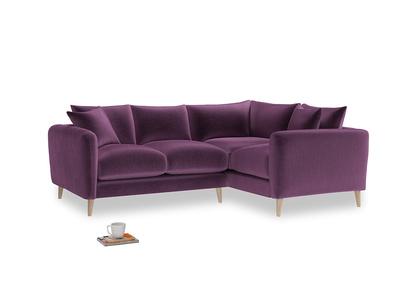 Large Right Hand Squishmeister Corner Sofa in Grape clever velvet