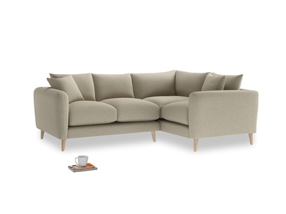 Large Right Hand Squishmeister Corner Sofa in Jute vintage linen
