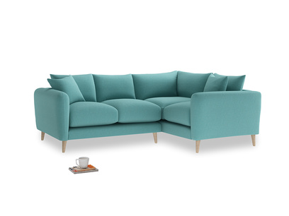 Large Right Hand Squishmeister Corner Sofa in Peacock brushed cotton