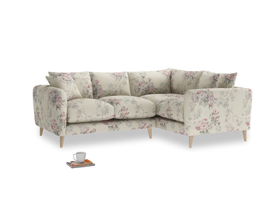 Large Right Hand Squishmeister Corner Sofa in Pink vintage rose