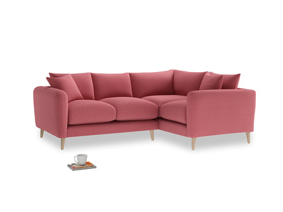 Large Right Hand Squishmeister Corner Sofa in Raspberry brushed cotton