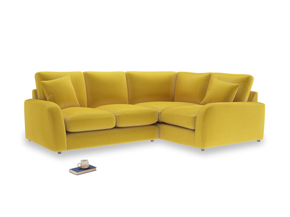 Large Right Hand Easy Squeeze Corner Sofa in Bumblebee clever velvet