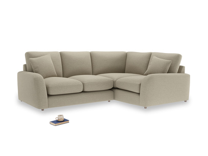 Large Right Hand Easy Squeeze Corner Sofa in Jute vintage linen