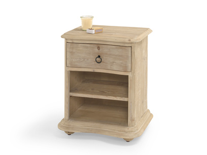 Avril bedside table made from reclaimed wood with lots of storage