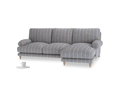 Large right hand Slowcoach Chaise Sofa in Brittany Blue french stripe