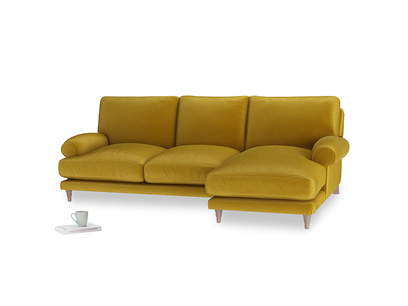 Large right hand Slowcoach Chaise Sofa in Burnt yellow vintage velvet