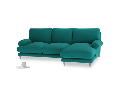 Large right hand Slowcoach Chaise Sofa in Indian green Brushed Cotton