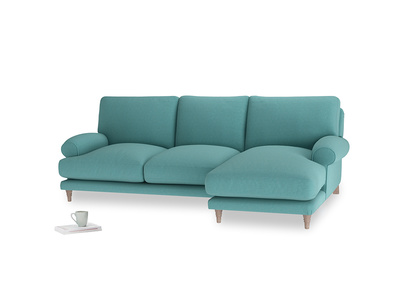 Large right hand Slowcoach Chaise Sofa in Peacock brushed cotton
