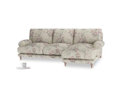 Large right hand Slowcoach Chaise Sofa in Pink vintage rose