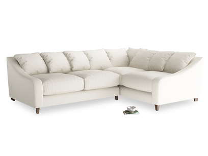 Large Right Hand Oscar Corner Sofa  in Chalky White Clever Softie