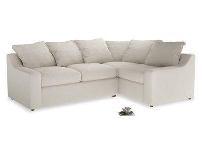 Large right hand Cloud Corner Sofa Bed in Chalky White Clever Softie