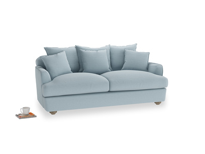 Medium Smooch Sofa in Soothing blue washed cotton linen