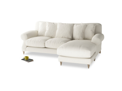Large right hand Crumpet Chaise Sofa in Chalky White Clever Softie