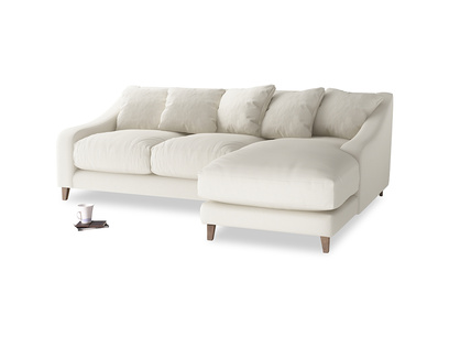 Large right hand Oscar Chaise Sofa in Chalky White Clever Softie