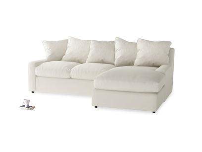 Large right hand Cloud Chaise Sofa in Chalky White Clever Softie