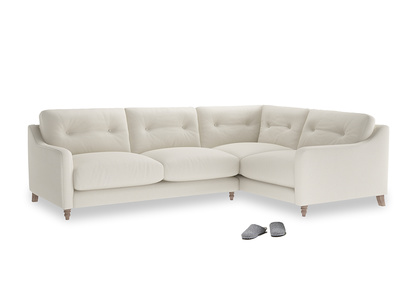 Large Right Hand Slim Jim Corner Sofa in Chalky White Clever Softie