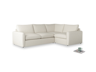 Large right hand Chatnap modular corner sofa bed in Chalky White Clever Softie with both arms