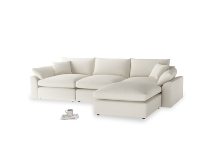 Large right hand  Cuddlemuffin Modular Chaise Sofa in Chalky White Clever Softie
