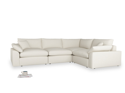 Large right hand Cuddlemuffin Modular Corner Sofa in Chalky White Clever Softie