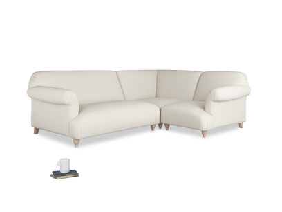 Large right hand Corner Soufflé Modular Corner Sofa in Chalky White Clever Softie and both Arms