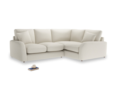 Large Right Hand Easy Squeeze Corner Sofa in Chalky White Clever Softie