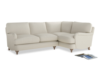 Large Right Hand Jonesy Corner Sofa in Chalky White Clever Softie