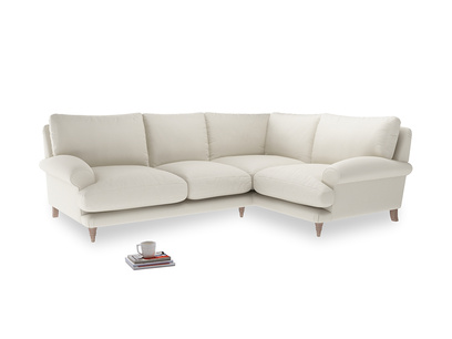 Large Right Hand Slowcoach Corner Sofa in Chalky White Clever Softie