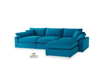 Large right hand  Cuddlemuffin Modular Chaise Sofa in Bermuda Brushed Cotton