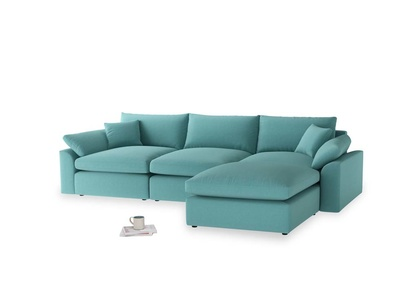 Large right hand  Cuddlemuffin Modular Chaise Sofa in Peacock brushed cotton