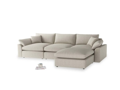 Large right hand  Cuddlemuffin Modular Chaise Sofa in Thatch house fabric