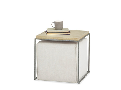 Caboodle Side Table and Linen covered pouffe