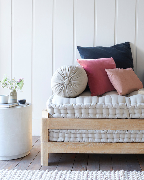 Bolster linen cushion
