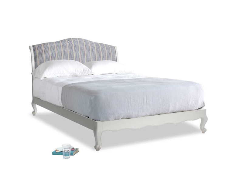 Kingsize Coco Bed in Scuffed Grey in Brittany Blue french stripe