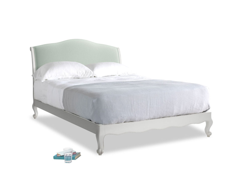 Kingsize Coco Bed in Scuffed Grey in Mint clever velvet