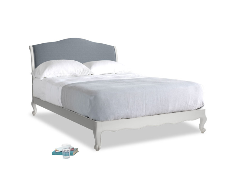 Kingsize Coco Bed in Scuffed Grey in Blue Storm washed cotton linen