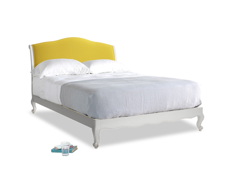 Kingsize Coco Bed in Scuffed Grey in Bumblebee clever velvet