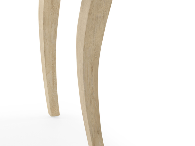 Carved legs on the French style Thelma oak dressing table with mirror