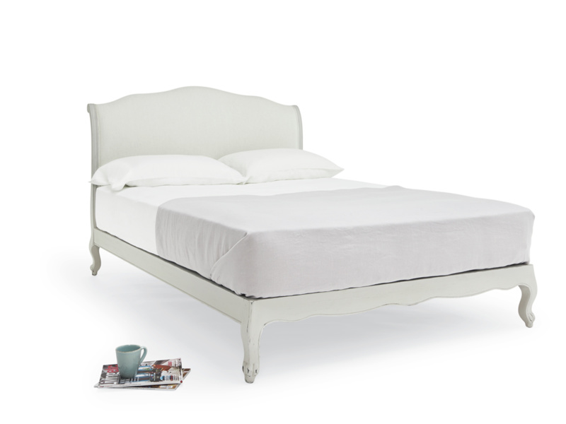 Coco in Scuffed Grey French bed with upholstered headboard