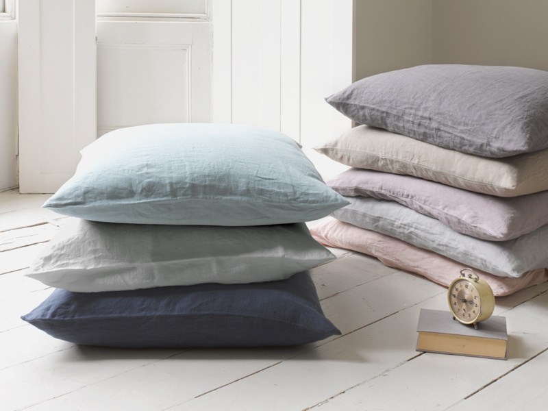 Large feather filled linen Scrunch cushions