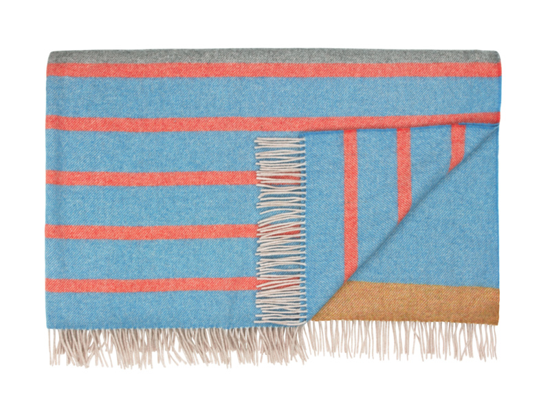 Dasher striped blanket and wool bed throw