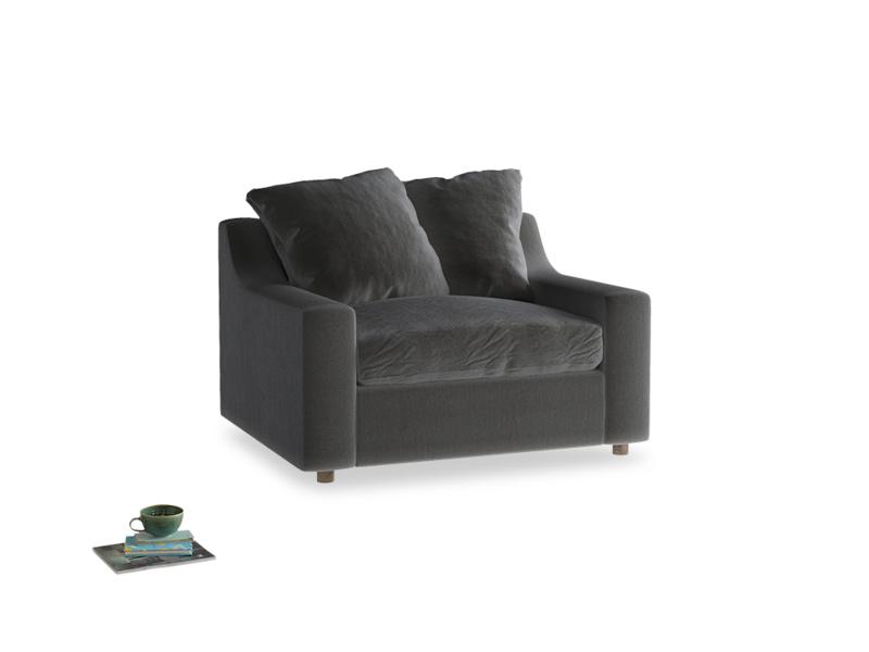 Cloud Love Seat in Steel Clever Velvet
