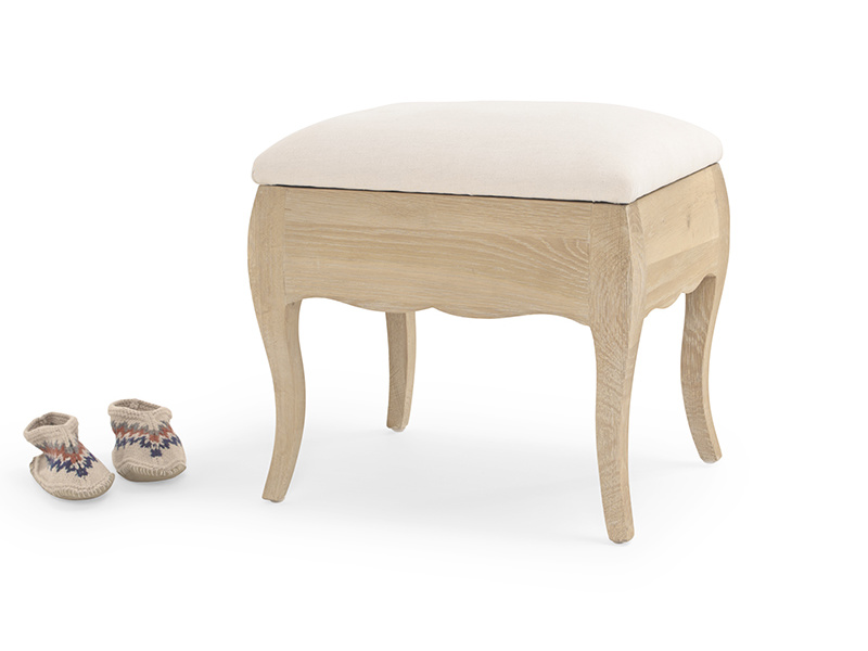Louise dressing table stool in weathered oak with upholstered seat pad and storage space