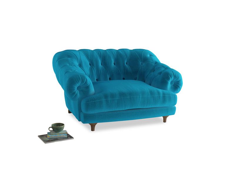 Bagsie Love Seat in Azure plush velvet