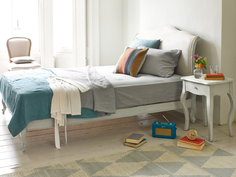 Coco French style upholstered bed painted in Scuffed Grey
