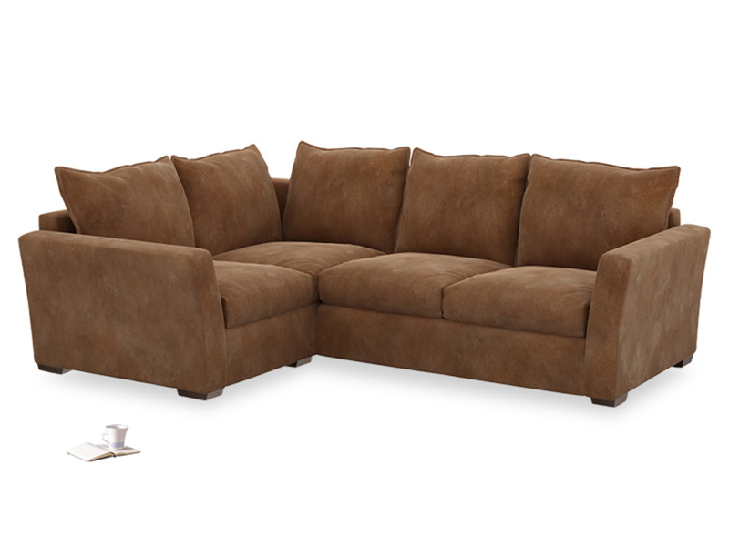 Large Left Hand Pavilion Corner Sofa in Walnut Beaten Leather