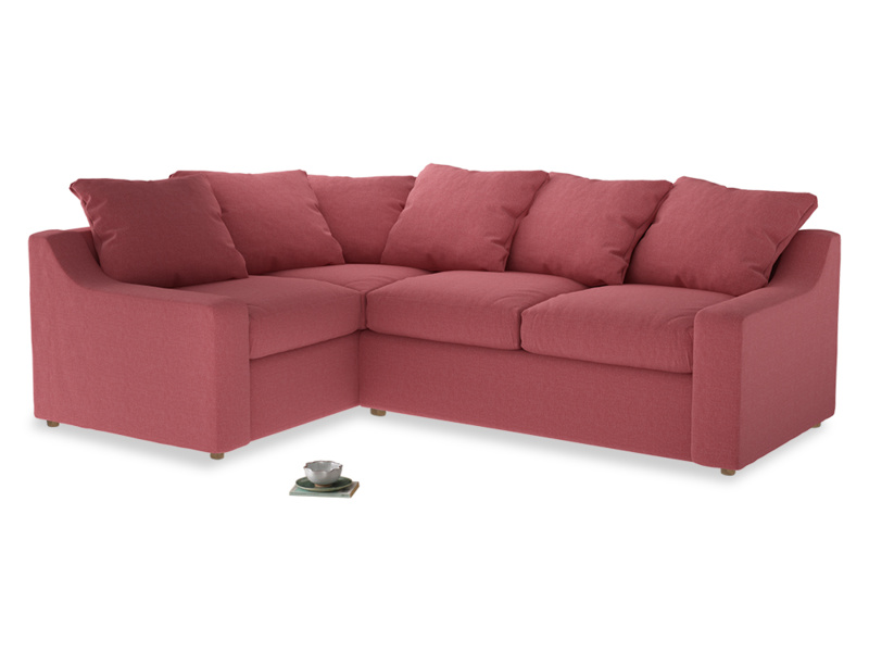 Large left hand Cloud Corner Sofa Bed in Raspberry brushed cotton