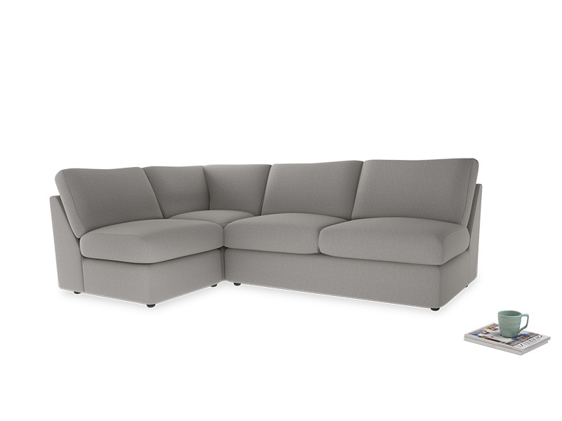 Large left hand Chatnap modular corner sofa bed in Wolf brushed cotton
