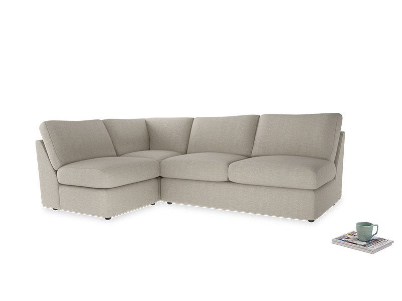 Large Left Hand Chatnap Modular Corner Sofa Bed in Thatch House Fabric with no arms