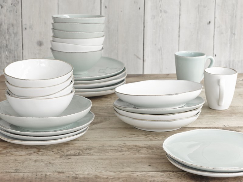 Kitchen Wobbler British made ceramic dinnerware set complete with a mug, a bowl and two plates