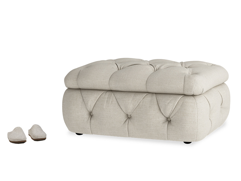 Chesterfield upholstered buttoned Stasher storage footstool